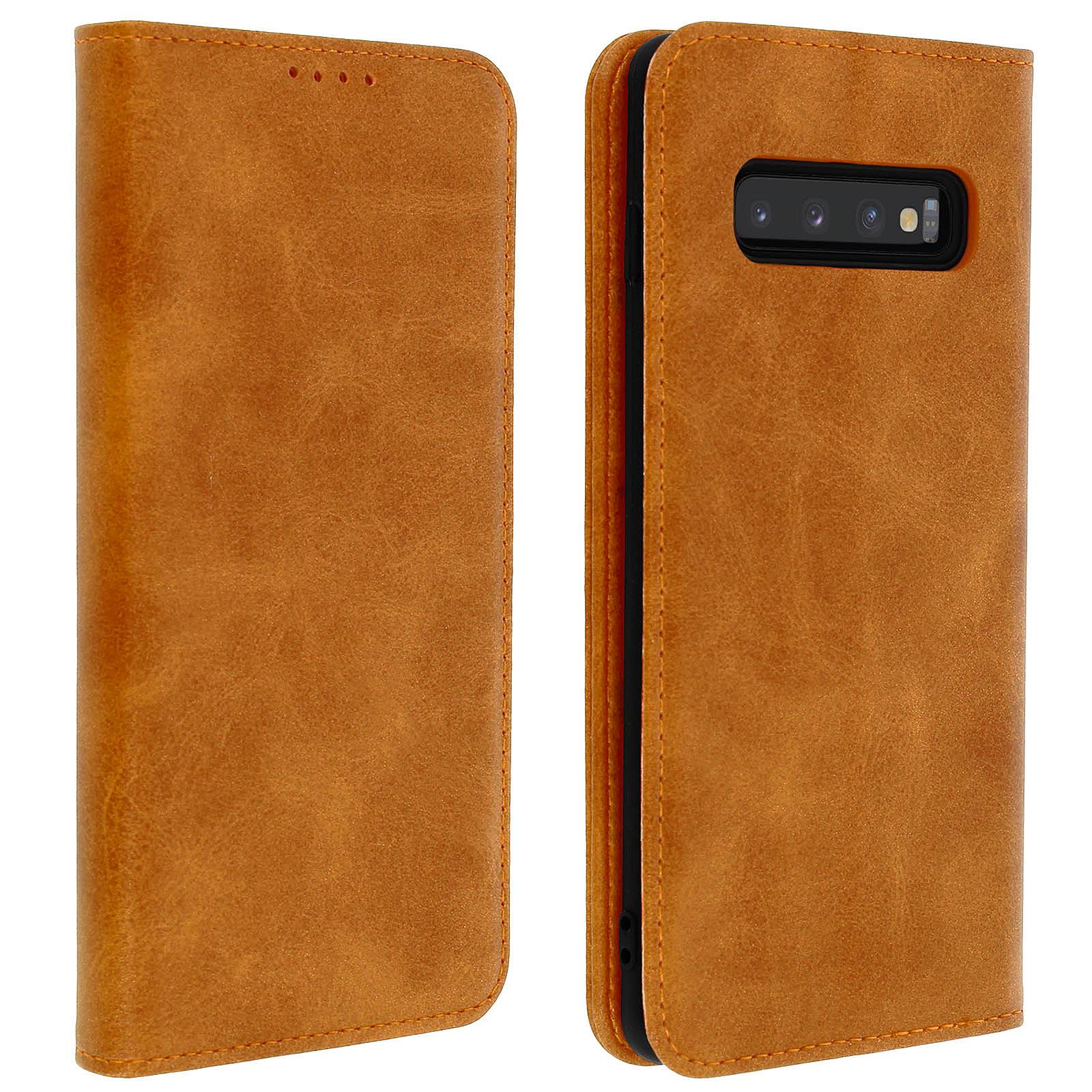 Avizar Etui folio Camel Vieilli pour Samsung Galaxy S10 Plus