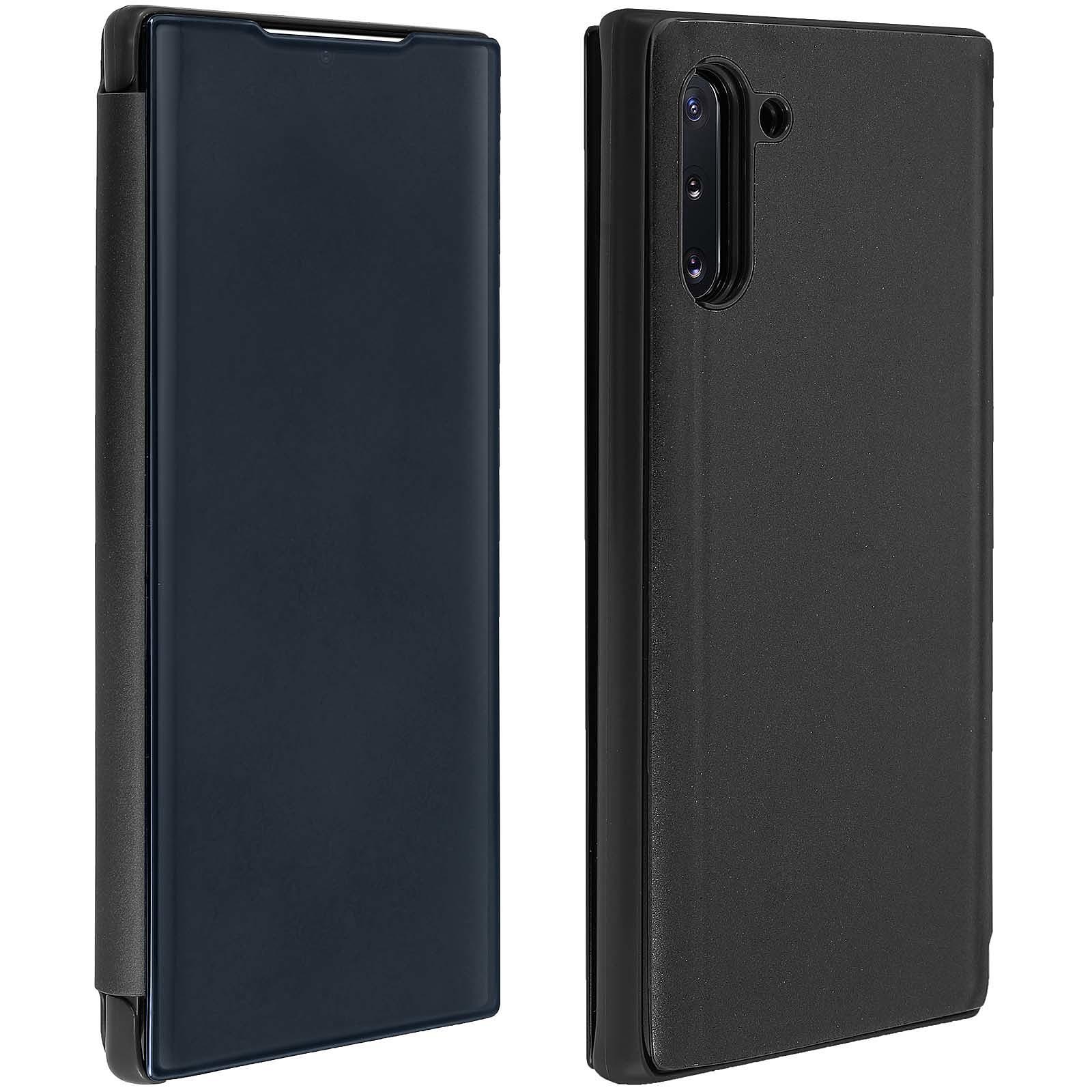 Avizar Etui folio Noir Design Miroir pour Samsung Galaxy Note 10