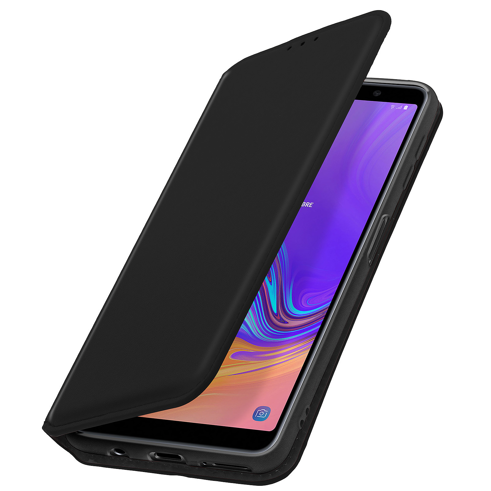 Avizar Etui folio Noir pour Samsung Galaxy A7 2018