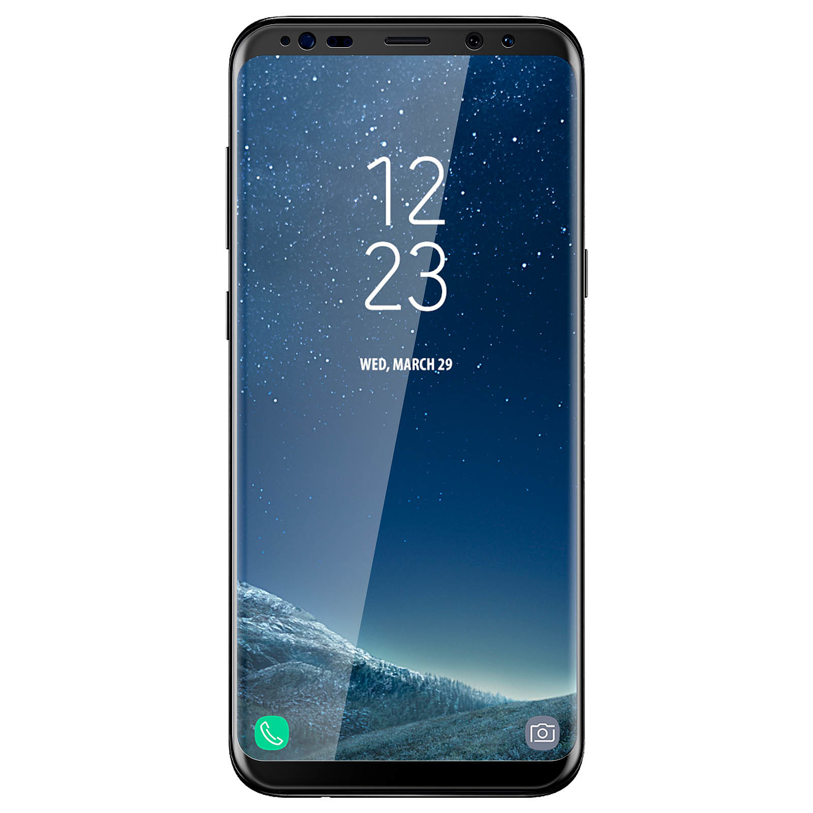 Avizar Film verre trempé Noir pour Samsung Galaxy S8 Plus