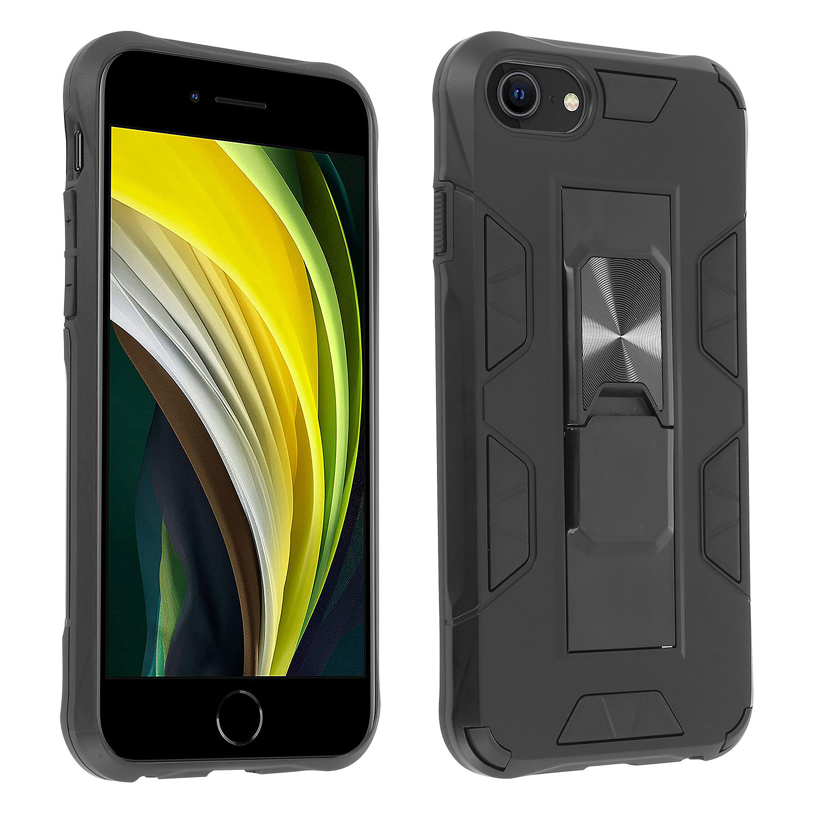 Avizar Coque Apple iPhone 6 / 6S / 7 / 8 / SE 2020 Hybride Béquille Support Noir - Coque téléphone Avizar sur LDLC