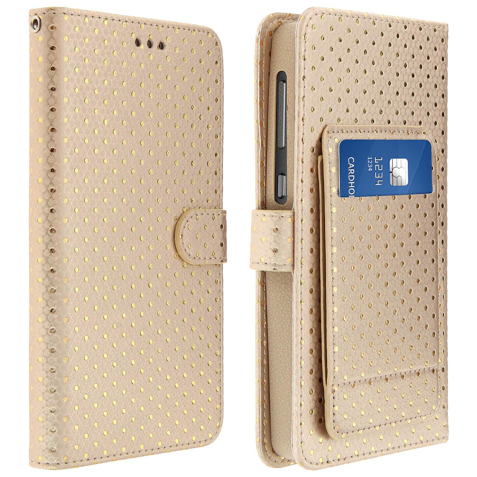 Avizar Etui folio Dorée pour Smartphones de 4.3' à 4.7'