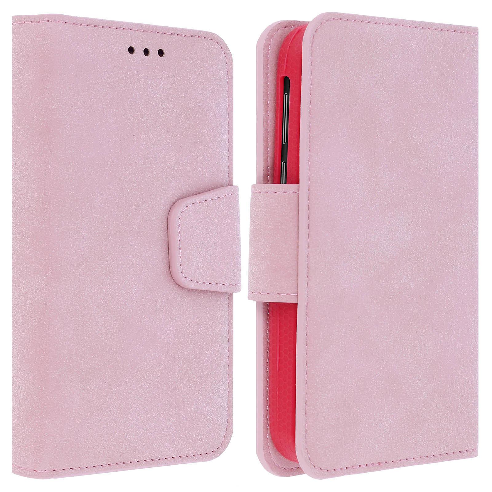 Avizar Etui folio Rose pour Tous les smartphones jusqu'à 5 pouces
