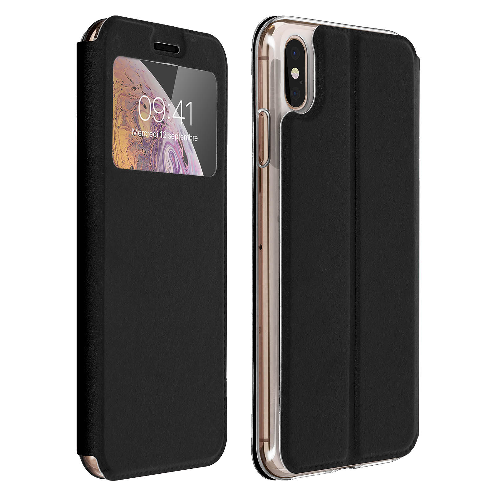 Avizar Etui folio Noir pour Apple iPhone XS Max
