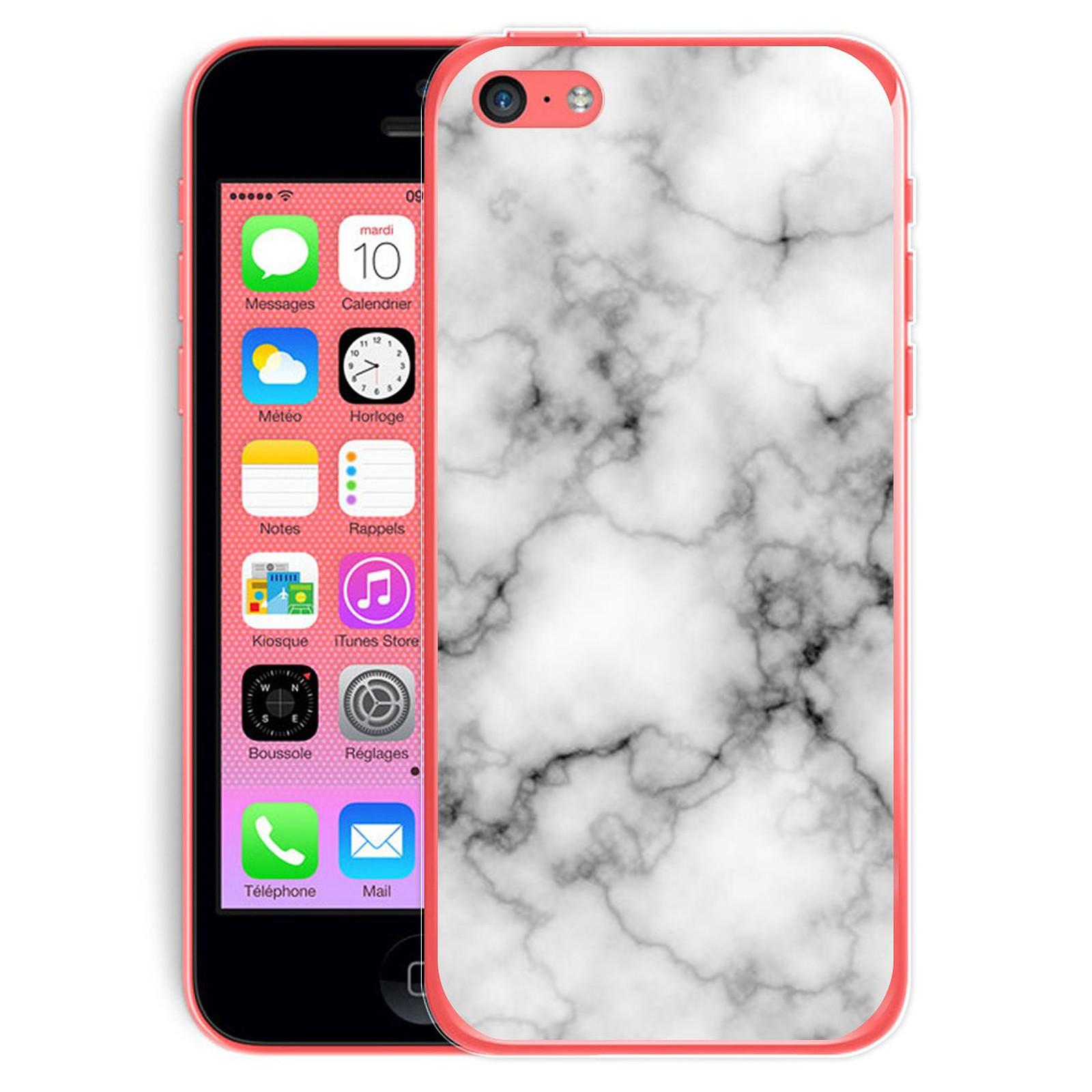 EVETANE Coque iPhone 5C rigide transparente Marbre blanc Dessin