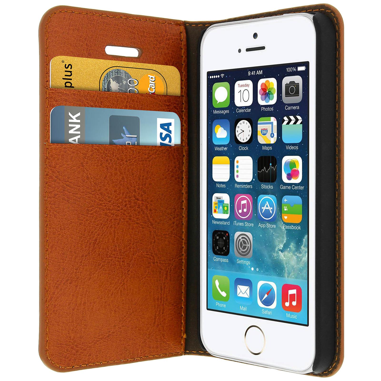 Avizar Etui folio Marron pour Apple iPhone 5 , Apple iPhone 5S , Apple iPhone SE