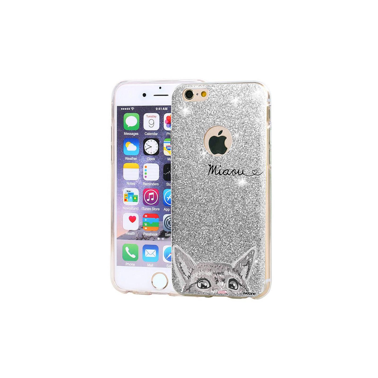 EVETANE Coque souple paillettes iPhone 7/8/ iPhone SE 2020 paillettes argent Chat Miaou - Coque téléphone Evetane sur LDLC