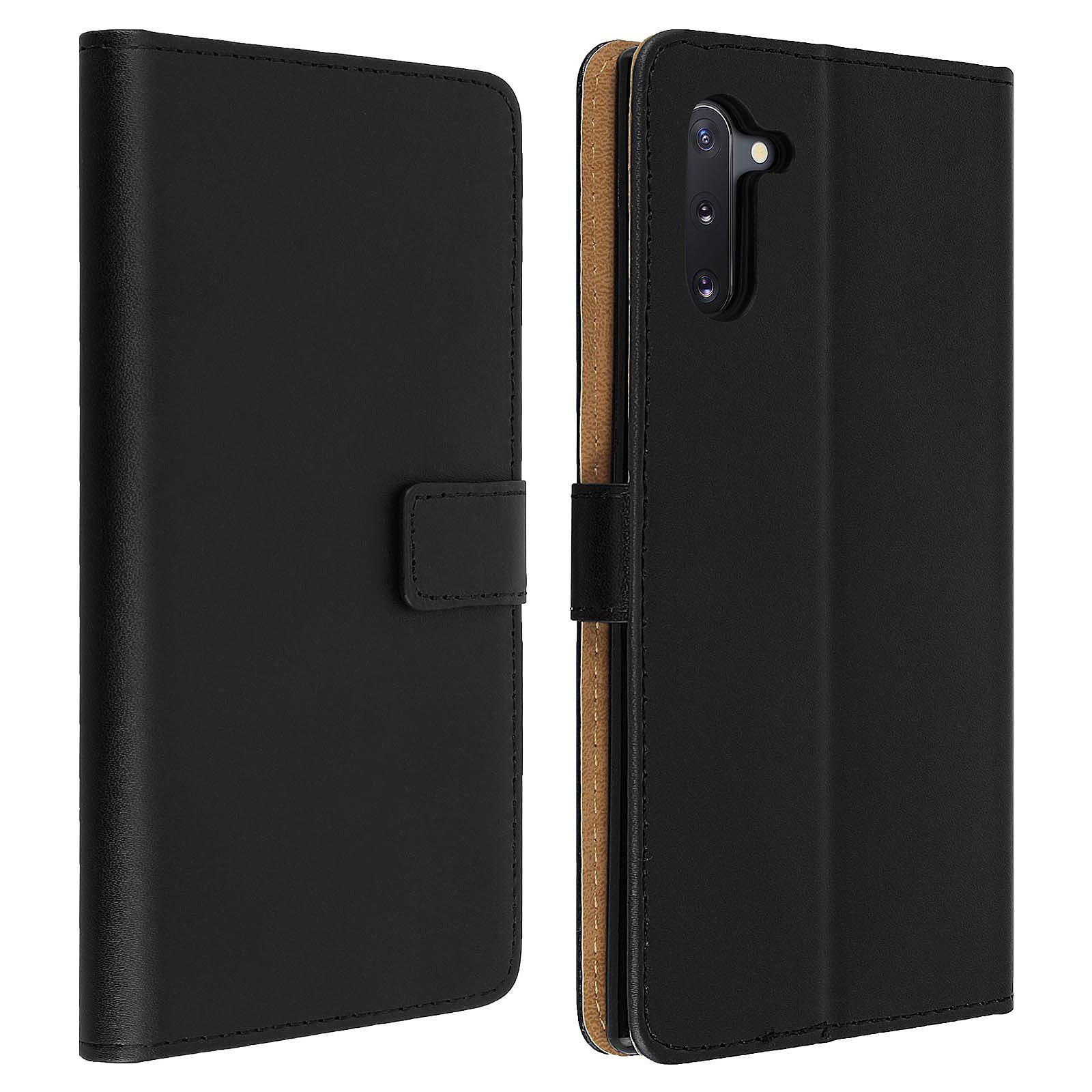 Avizar Etui folio Noir Cuir véritable pour Samsung Galaxy Note 10