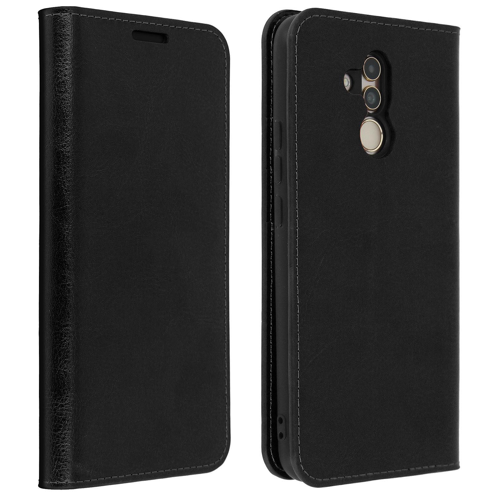 Avizar Etui folio Noir Cuir véritable pour Huawei Mate 20 Lite