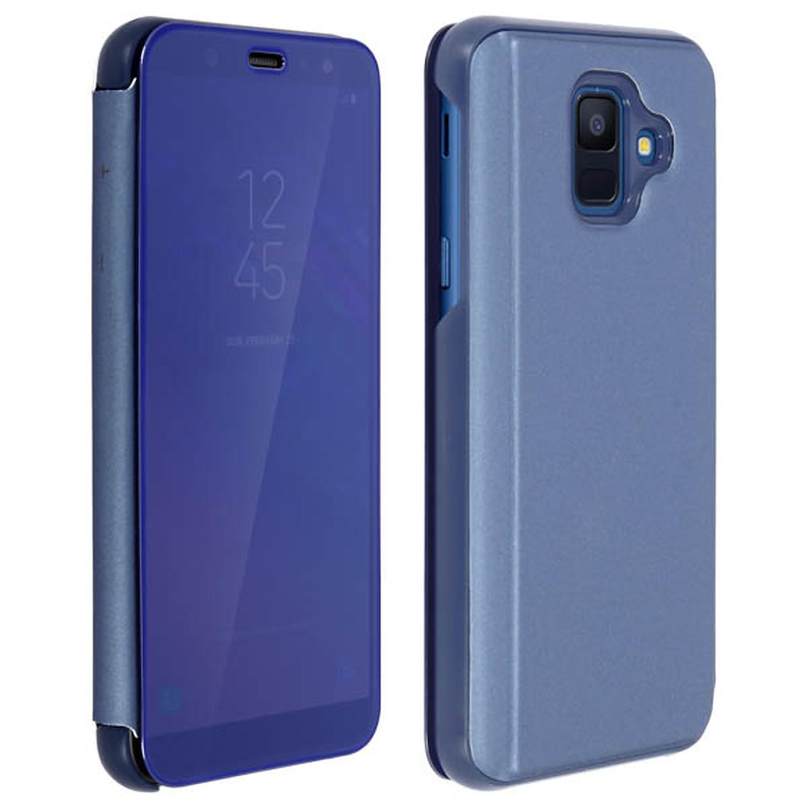 Avizar Etui folio Bleu Design Miroir pour Samsung Galaxy A6