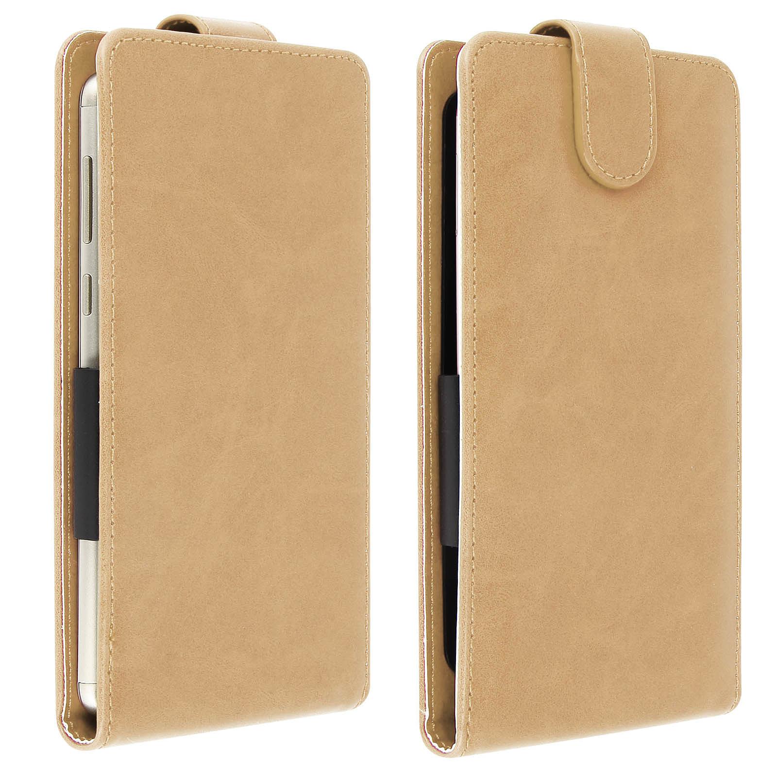 Avizar Etui à clapet Beige pour Compatibles avec Smartphones de 5,5 à 6,0 pouces