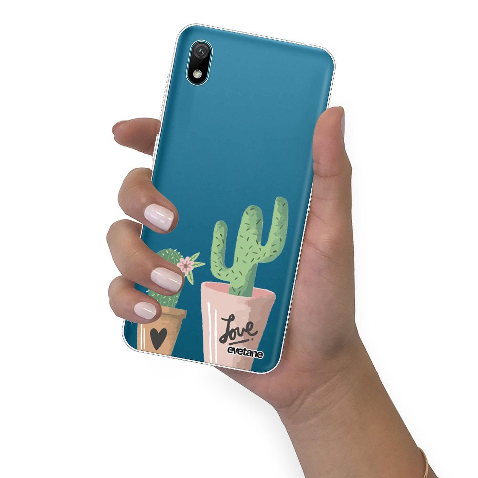 EVETANE Coque Huawei Y5 2019 360 intégrale transparente Cactus Love Tendance