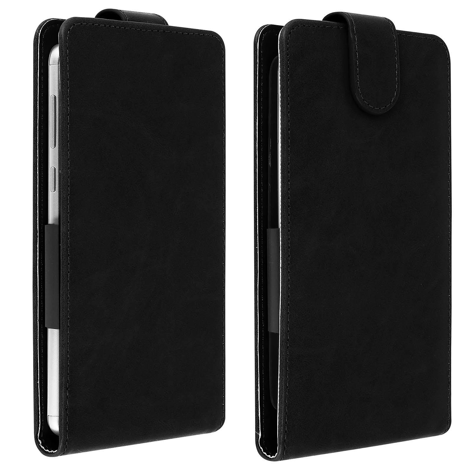 Avizar Etui à clapet Noir pour Compatibles avec Smartphones de 4,7 à 5,0 pouces