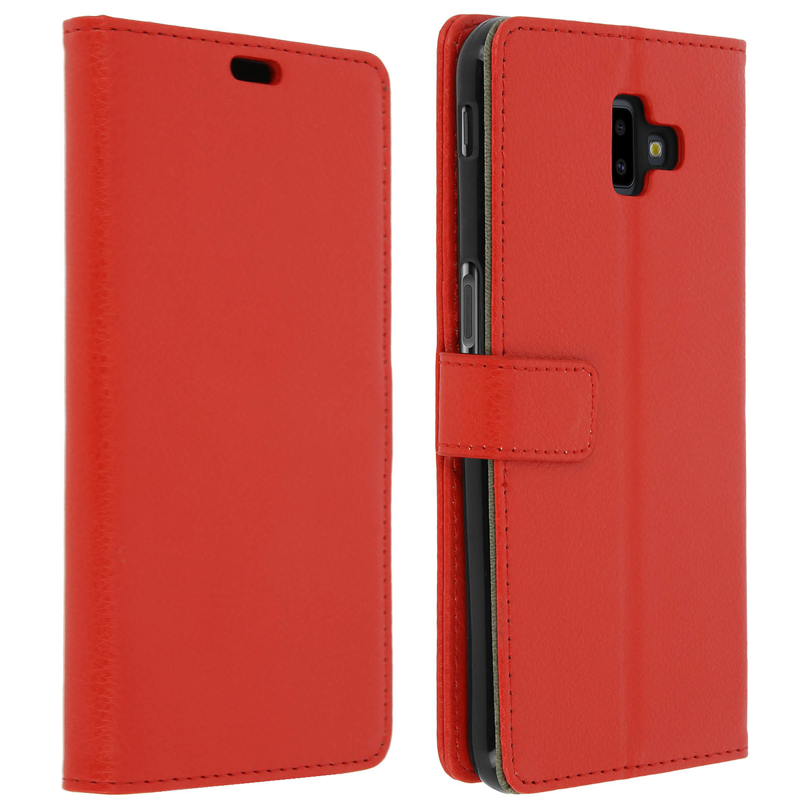 Avizar Etui folio Rouge Portefeuille pour Samsung Galaxy J6 Plus