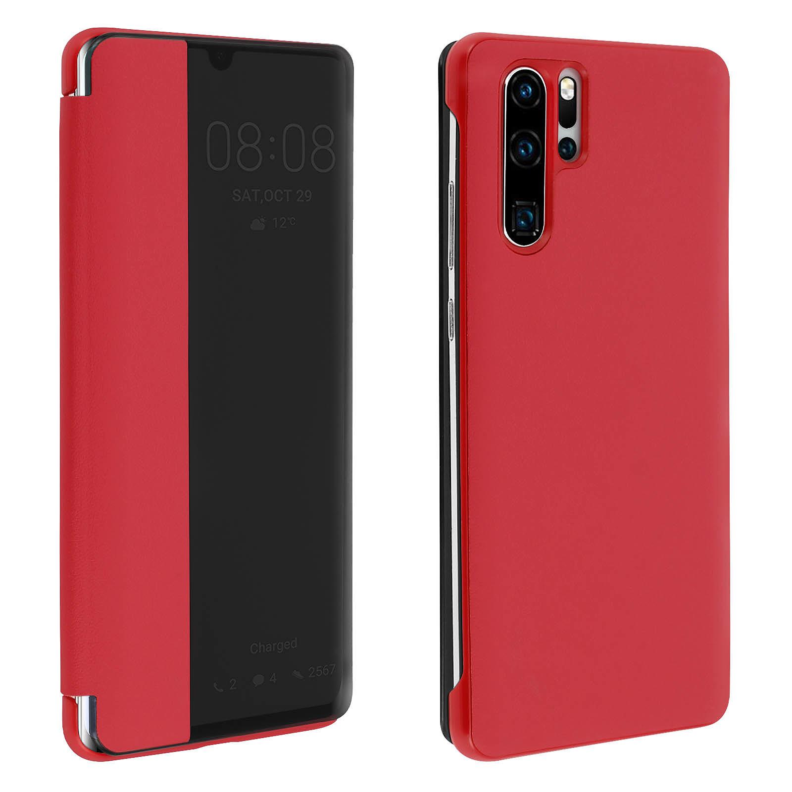 Avizar Etui folio Rouge à fenêtre pour Huawei P30 Pro