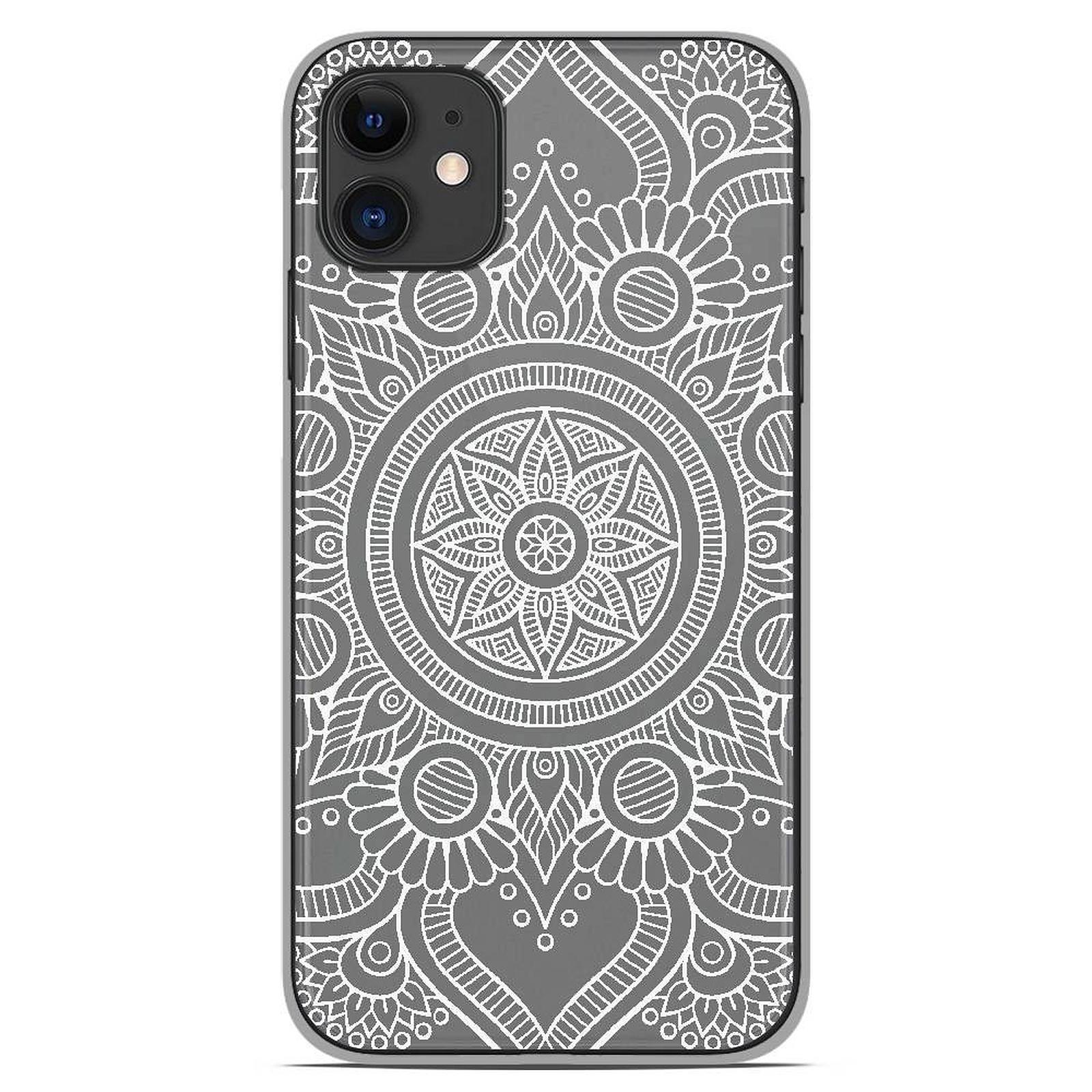 1001 Coques Coque silicone gel Apple iPhone 11 motif Mandala blanc - Coque téléphone 1001Coques sur LDLC
