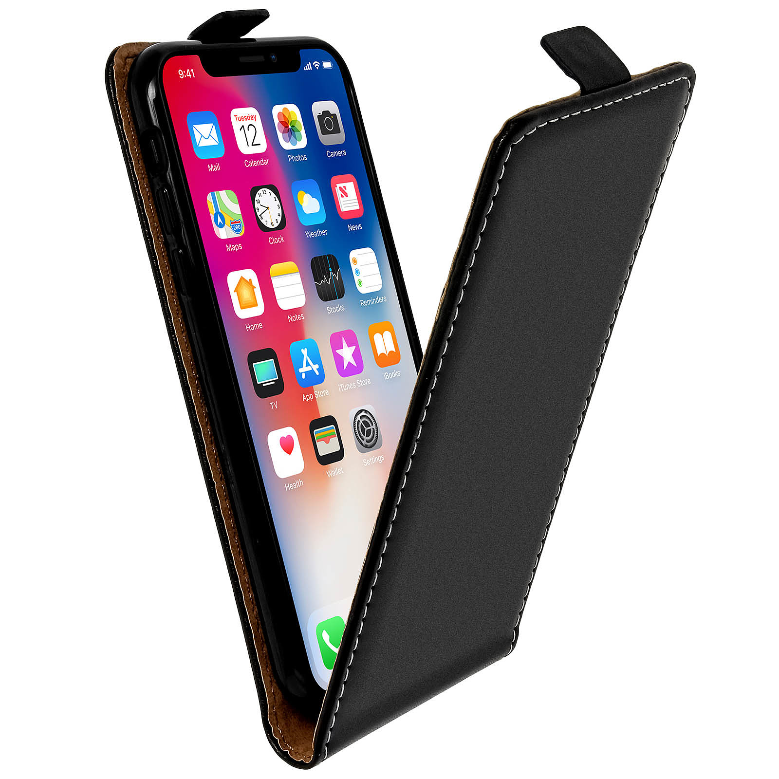 Avizar Etui à clapet Noir pour Apple iPhone X , Apple iPhone XS