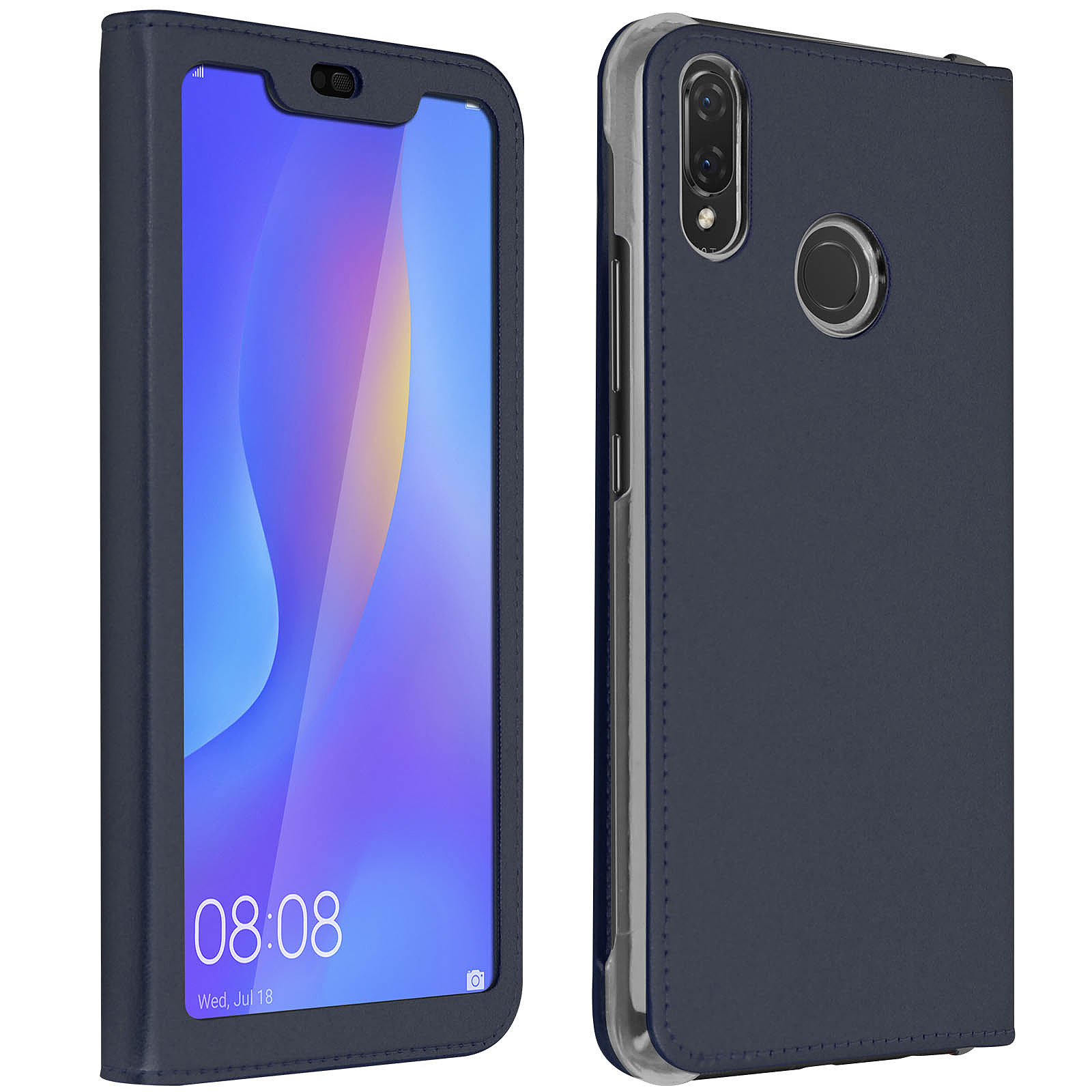Avizar Etui folio Bleu Nuit pour Huawei P Smart Plus
