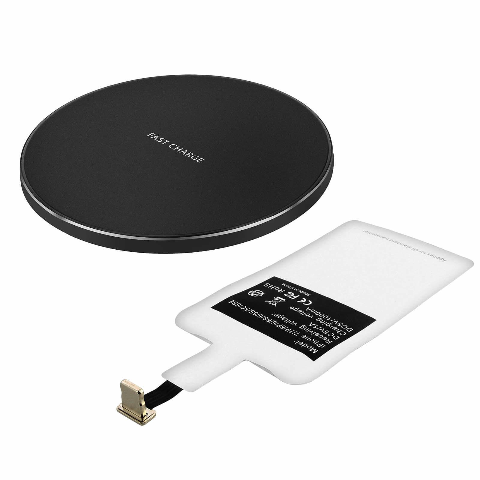 Avizar Chargeur sans fil Noir pour Tous les smartphones dotés d'un port de charge Lightning