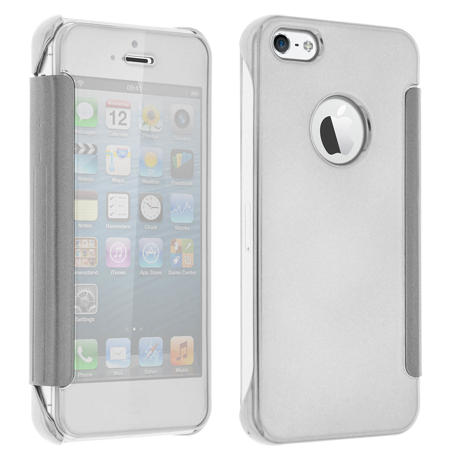 Avizar Etui folio Argent pour Apple iPhone 5 , Apple iPhone 5S , Apple iPhone SE