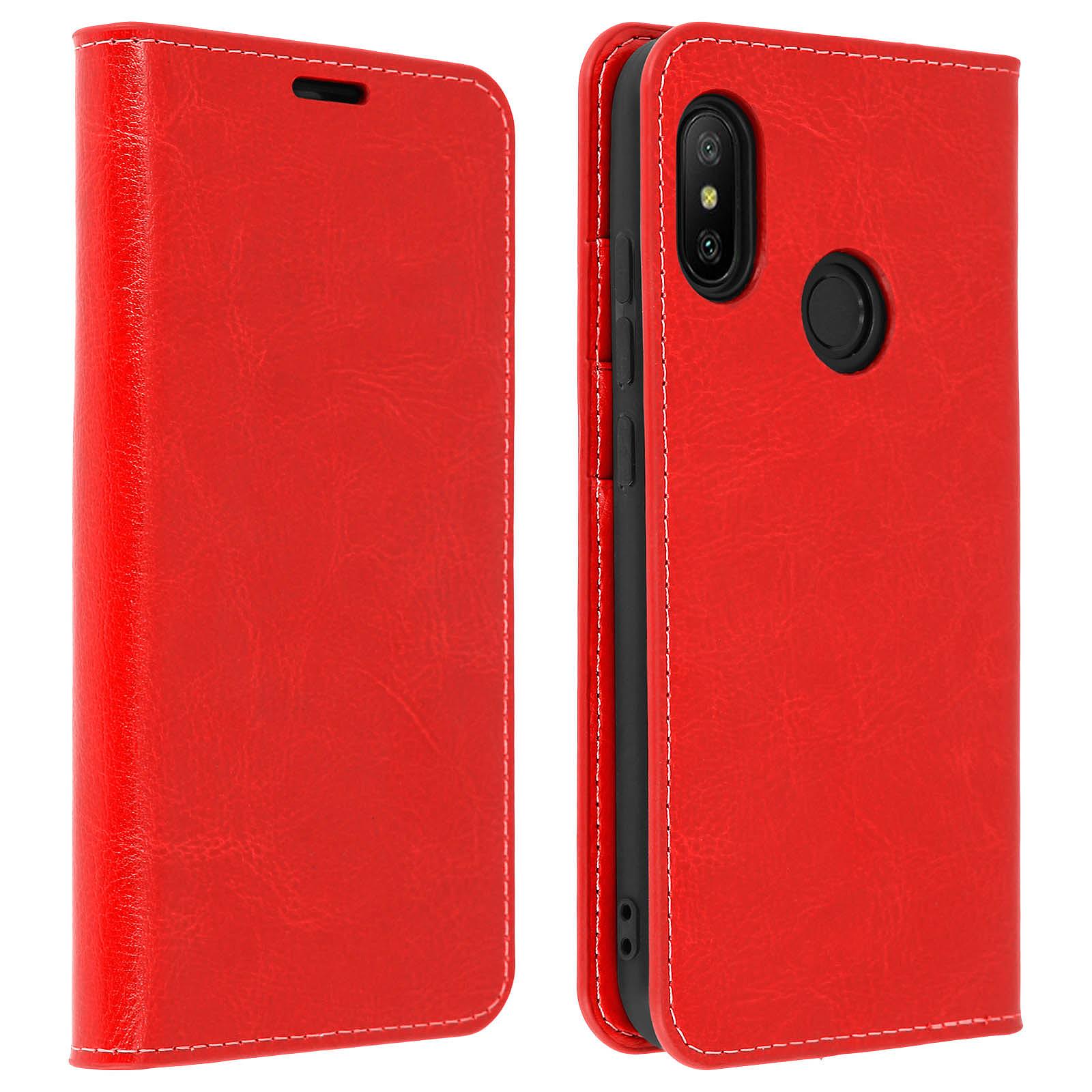 Avizar Etui folio Rouge Cuir Véritable pour Xiaomi Mi A2 Lite