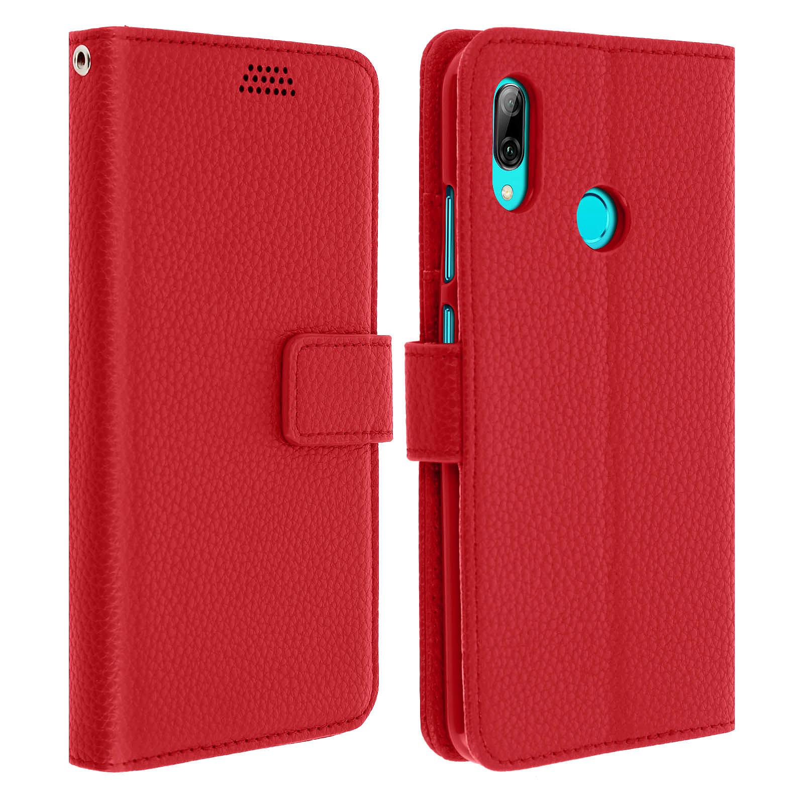 Avizar Etui folio Rouge Porte-Carte pour Huawei P Smart 2019 , Honor 10 Lite