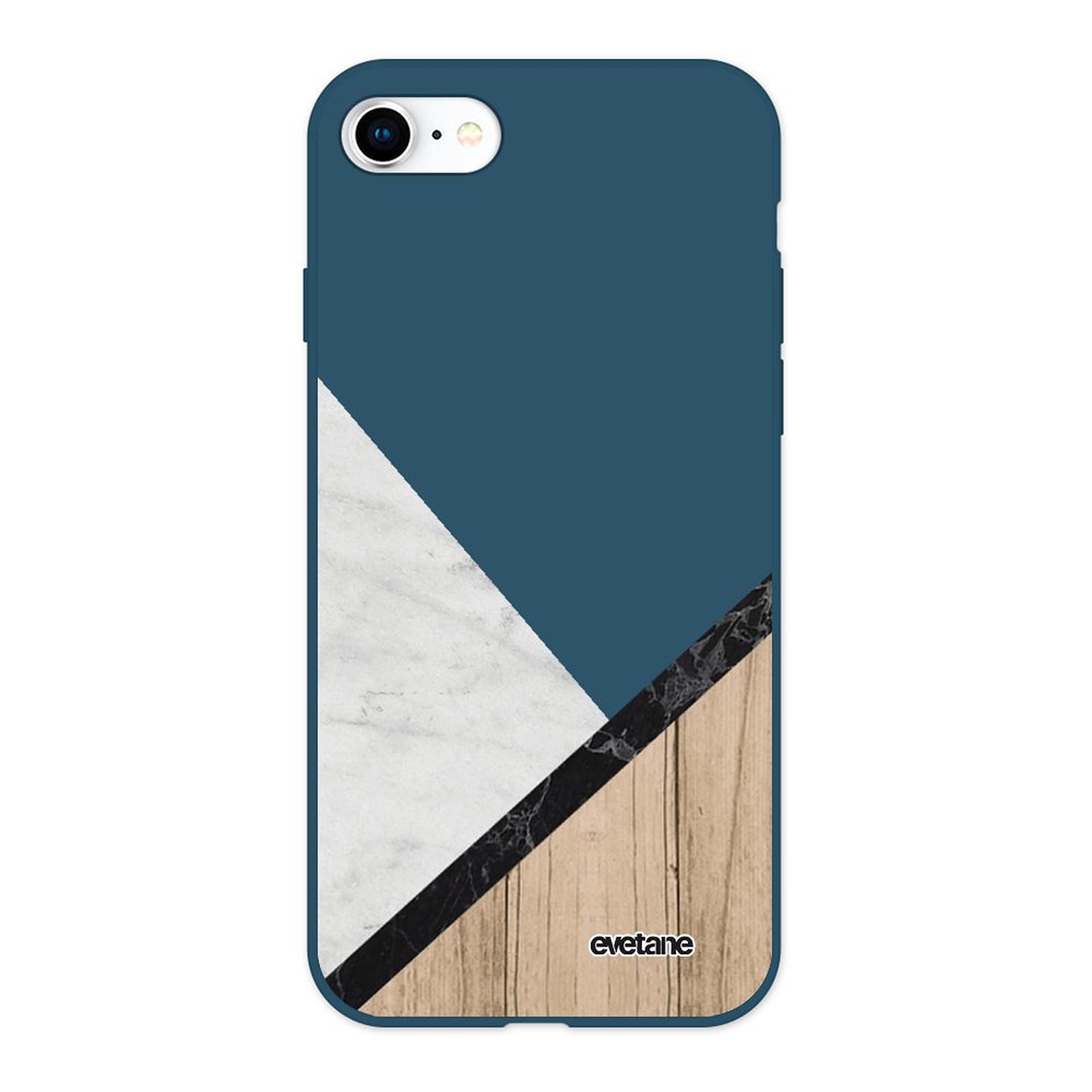 EVETANE Coque iPhone 7/8/ iPhone SE 2020 Silicone Liquide Douce bleu marine Marbre et Bois Graphique - Coque téléphone Evetane sur LDLC