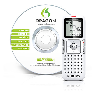 Philips LFH0625 Dictaphone numérique MP3 2 GO + Dragon NaturallySpeaking 10.1