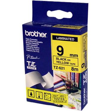 Brother TZE 621 Ruban 9 mm noir/jaune - 8 m