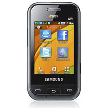 """Samsung Champ DuoS GT-E2652 Noir Smartphone 2G avec écran tactile 2.6"""" et 2 ports pour cartes SIM"""