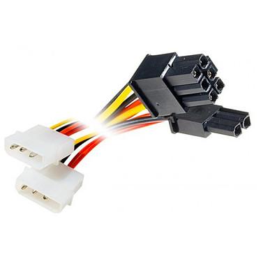 Adaptateur d'alimentation Molex (x2) vers connecteur PCI-E 6+2 pins
