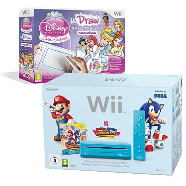 Nintendo Wii bleue + Mario & Sonic aux J.O de Londres 2012 + uDraw & Disney Princess : Livres enchantés