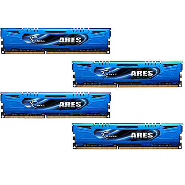 G.Skill Ares Blue Series16 Go (4 x 4 Go) DDR3 1866 MHz CL9 Kit Quad Channel DDR3 PC3-14900 - F3-1866C9Q-16GAB (garantie à vie par G.Skill)