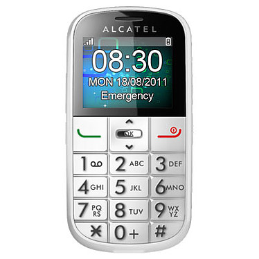 """Alcatel OT-282 Blanc Téléphone 2G avec écran 1.8"""" à grosses touches"""