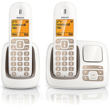 Philips CD2952 Duo Blanc/sable Téléphone DECT sans fil avec répondeur et combiné supplémentaire (version française)