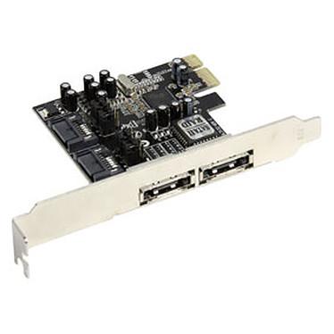 Carte contrôleur PCI-Express avec 2 ports SATA II internes + 2 ports eSATA