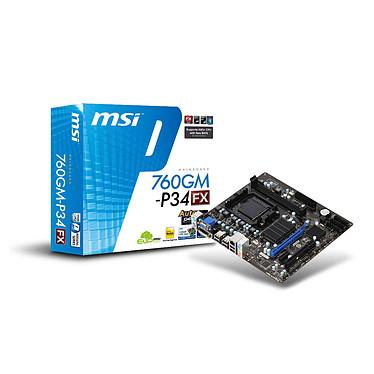 MSI 760GM-P34 (FX) Carte mère Micro ATX Socket AM3+ AMD 760G - SATA 3Gb/s - USB 2.0 - 1x PCI-Express 2.0 16x
