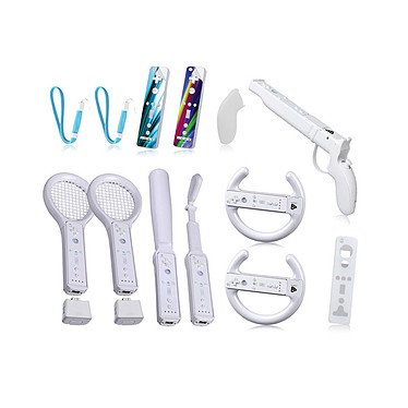 Playfect XL Jumbo Kit 15-en-1 Blanc (Wii) Pack de 15 accessoires pour Wii