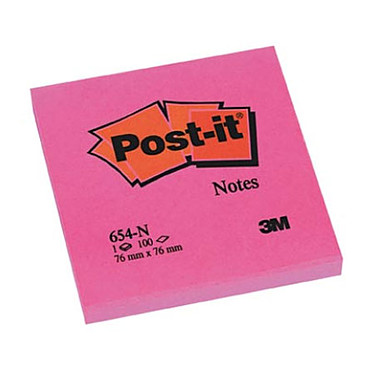 Post-it Bloc 100 feuillets 76 x 76 mm Néon Rose