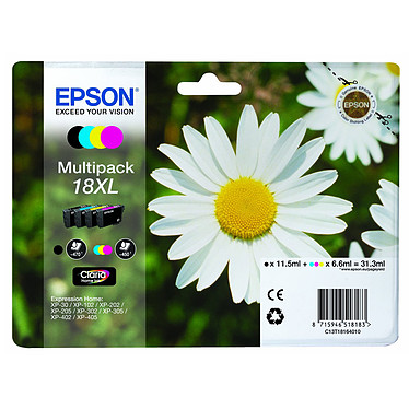 Epson T1816 MultiPack Pack de 4 cartouches d'encre noire, cyan, magenta, jaune