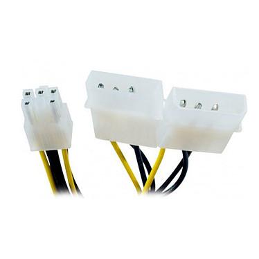 Adaptateur d'alimentation Molex (x2) vers connecteur PCI-E 6 pins
