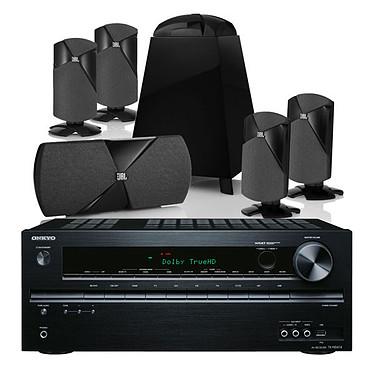 Onkyo TX-NR414 Noir + JBL Cinema 300 Ampli-tuner Home Cinéma 7.1 DLNA 3D Ready avec HDMI et Décodeurs HD Airplay + Pack d'enceintes ultra compactes 5.1
