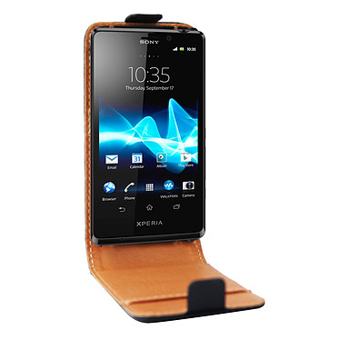 Swiss Charger Etui Cuir Flip pour Sony Xperia T Etui en cuir véritable pour Sony Xperia T