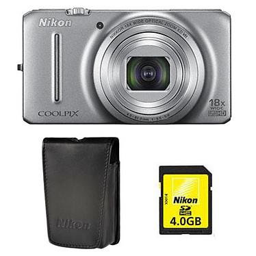 Nikon Coolpix S9200 Argent  + Etui + Nikon SD 4 Go