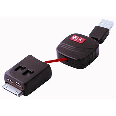 Swiss Charger SCH40001  Câble de charge et de synchro 3 en 1 mini USB/micro USB/dock Apple