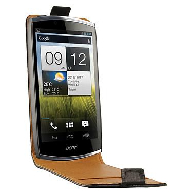 Swiss Charger Etui Cuir Flip Noir pour Acer Cloud S500 Etui en cuir véritable pour Acer Cloud S500