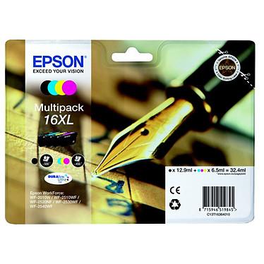 Epson T1636 XL Multipack Pack de 4 cartouches d'encre haute capacité noire, cyan, magenta, jaune