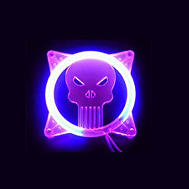 """Sunbeam grille à LED UV violette """"Tête de Mort"""" pour ventilateur 80 mm"""