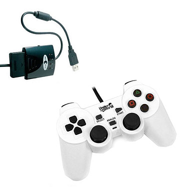 Under Control Shockcontroller Blanc + Convertisseur de manette (PS2 / PS3)