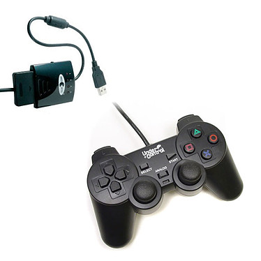 Under Control Shockcontroller Noir + Convertisseur de manette (PS2 / PS3)